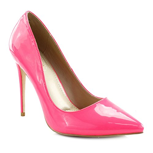 s Pointed Toe Patent Stiletto High Heel Pump, Neon Pink, 6 M US (Pink Patent Pointed Toe Heels)