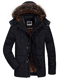 JEWOSOR Men's Winter Warm Thicken Field Jacket with Removable Hood Coat Jacket Parka
