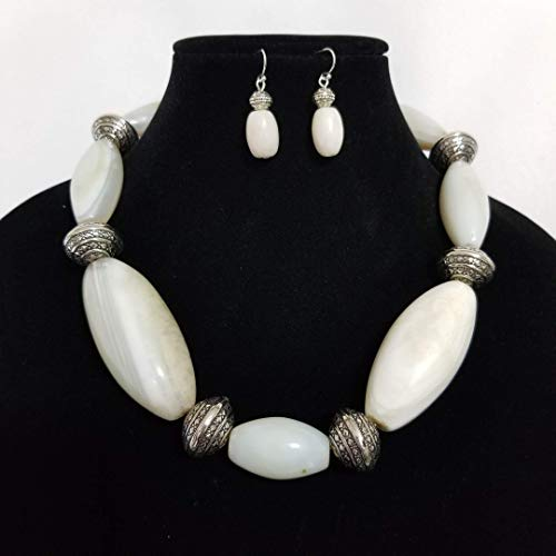 Natural Old Pawn Antique Carved White Gemstone Indian Beads Necklace Earrings One of a Kind ()