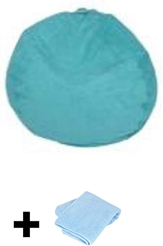 Large Microsuede Bean Bag Chair, Turquoise Free Cleaning Towel