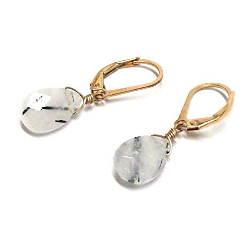 Rutilated Quartz Briolette Lever Back Earrings Gold-Filled