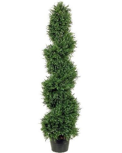4' Spiral (One 4 Foot Artificial Rosemary Spiral Slim Topiary Tree Potted)