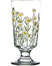 Cabilock Glasses Goblets Vintage Drinking Glass Daisy Beverage Glasses Water Cup Coffee Milk Tumbler for Wine Beer Cocktails Iced Juice 200-300ML
