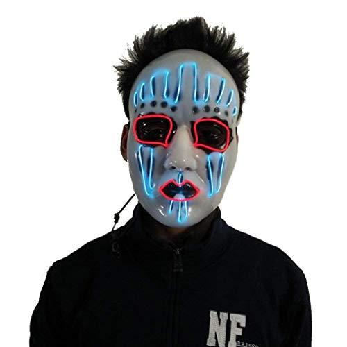 Sandistore Halloween Sound Reactive Full Face LED Light Up Mask Dance Rave EDM Plur Party Light Up Adjustable Mask (D)]()