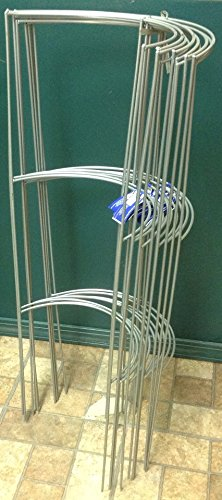 """Supreme Smart Tall Heavy Duty Opened Half Ring Grow Tomato Cage, Silver, 10 Pack, 36"""""""