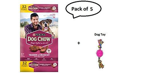er & Crunchy with Real Lamb Adult Dry Dog Food - 32 lb. Bag Pack of 5 + Dog toy ()