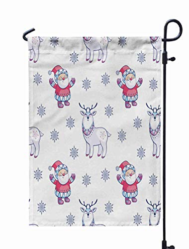 HerysTa Garden Flag Stand, Decorative Yard Farmhouse Holiday Banner 12 x 18 inches Christmas Pattern Santa Cute Deer Childhood Background in Ethnic Style Double-Sided Seasonal Garden Flags