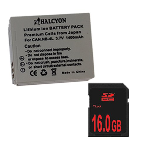 NB4L Lithium Ion Replacement Battery + 16GB SDHC Memory Card for Canon PowerShot Elph 100 HS 300 HS, SD1000 IS, SD1400 IS, SD200, SD300, SD40, SD400, SD430, SD450, SD600, SD630, SD750, SD780 IS, SD940 IS, SD960 IS, TX1 Digital Cameras