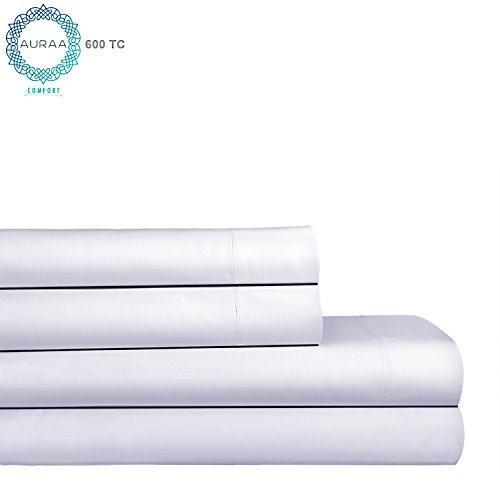 AURAA Comfort 600Thread Count 100% American Supima Long Staple Cotton Sheet Set,4 Piece Set, Queen Sheets Sateen Weave,Hotel Collection Soft Luxury Bedding,Fits Upto 18
