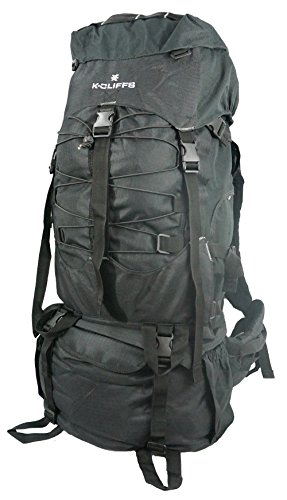 Hiking Backpack Large Scout Camping Backpack Outdoor Travel Bag Emergency Survival Pack w/Rain Cover Blk