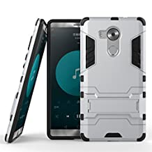 HUAWEI Mate 8 Case, SATURCASE Hybrid 2 In 1 [PC & Silicone] Dual-Layer Bumper Case Cover with Kickstand for HUAWEI Mate 8 Silver