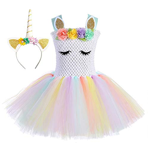 Tutu Dreams Halloween Unicorn Costumes for Girls Size 6 Flower Rainbow Unicorn Party Favors Holiday Pageant (White Rainbow-1, L)]()