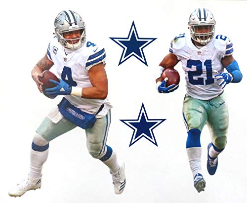Dak Prescott Mini FATHEAD Graphic and Ezekiel Elliott Mini Graphic + Dallas Cowboys Logo Official NFL Vinyl Wall Graphics - Each Player 7