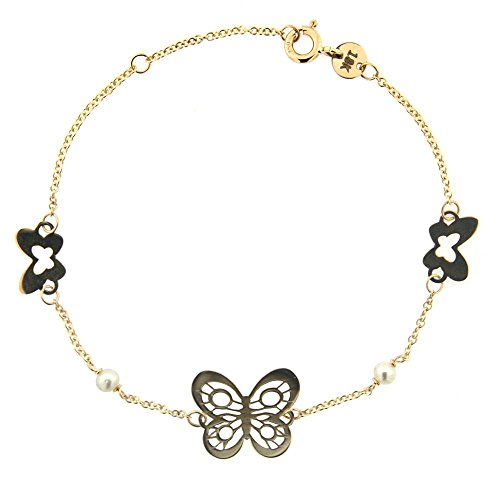 18K Yellow Gold Open Polished Design Center Butterfly with two 3 mm Cultivated Pearls and 2 smaller Butterflies Bracelet by Amalia