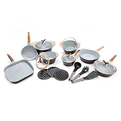 Bravissima Premium Pans And Cookware Set Non Stick Ceramic Stone, Dishwasher Safe, PTFE and PFOA free