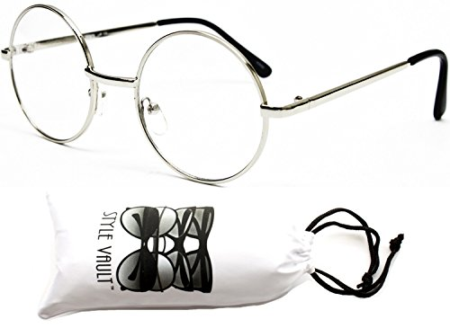 [Kd244-vp 'Kids' Child Tiny Small Round Lennon Sunglasses (SCL 3~12yr Silver-Clear)] (Round Frame Glasses Costume)