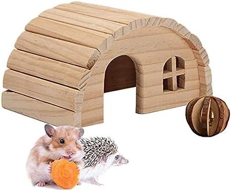 Casa de hámster de madera de MUMAX, casa de madera con bola de mascar juguetes para animales pequeños como el hámster enano, rata, jerbil, cobayas, hámster enano (M)
