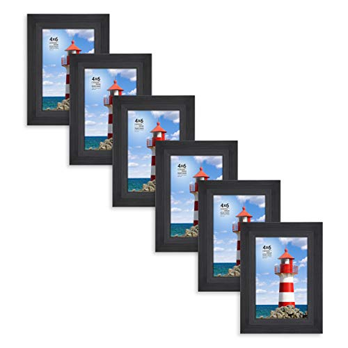 Langdons 4x6 Picture Frame (6 Pack, Black), Sturdy Wood Composite Photo Frame 4 x 6, Wall Mount or Table Top, Set of 6 Seaside ()