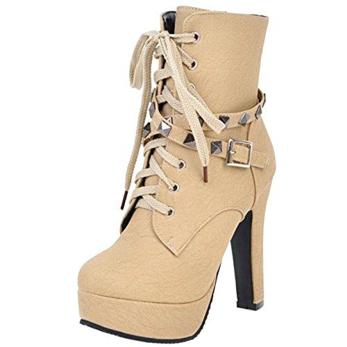 1 Women High Martin Fashion Melady Zipper Heels Boots Beige BpSqUS0nx