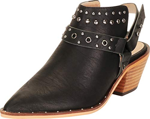 (Cambridge Select Women's Pointed Toe Western Studded Harness Slingback Chunky Block Mid Heel Ankle Bootie (10 B(M) US, Black PU))