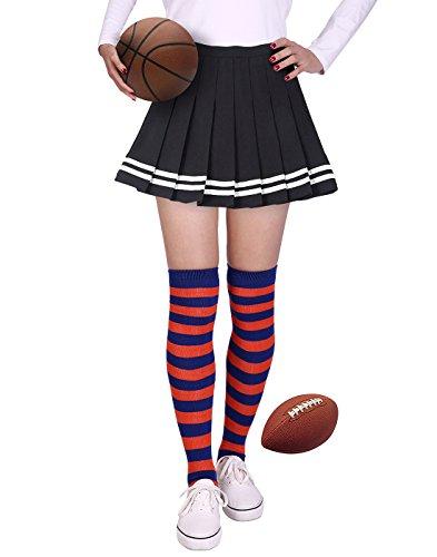 HDE Womens Striped Socks School Team University Colors OTK Long Knee High socks (Blue and Orange)