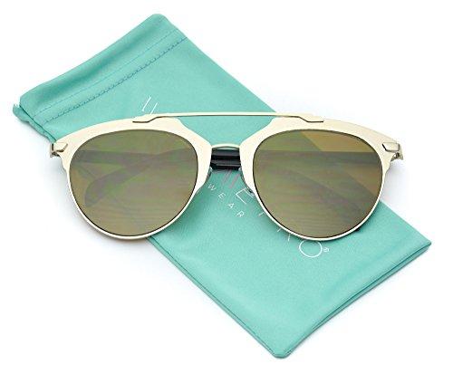 WearMe Pro - Double Bridge Women Refelctive Celebrity Sunglasses Gold Lens