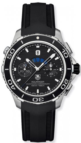 Tag Heuer Aquaracer Automatic Chronograph Black Dial Black Rubber Mens Watch CAK211A.FT8019
