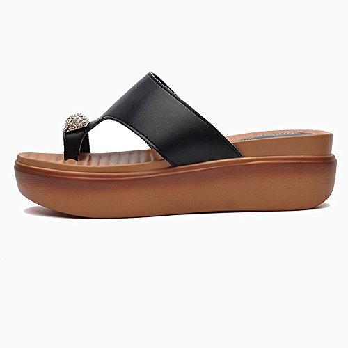 FEI Mules Clip Feet Dragging Shoes Female Summer New Korean Version Of Joker Toe Thick Soles Sandals Fashion Outer Wear Beach Cover Toe Drag Black White Sandals Casual Black E66dOJvIy