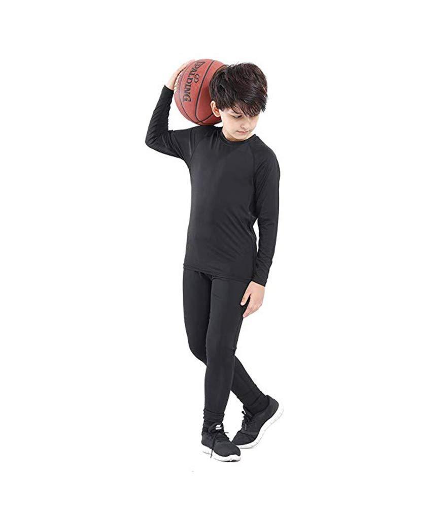 Malavita Boys & Girls Compression Pants Long Sleeve Compression Shirts Athletic Base Layer 2 Pcs Set (Black#Black Line, Size 12: Height 58''-60'' Weight 79lbs-88lbs) by Malavita