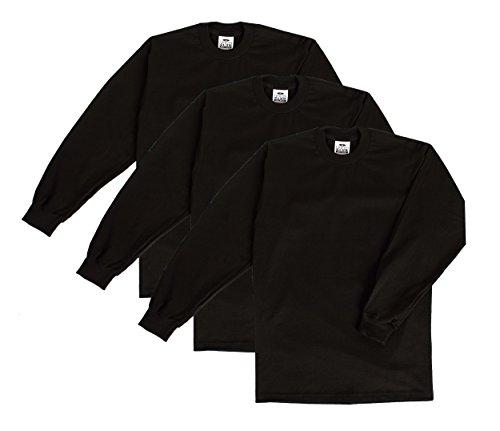 - Pro Club Men's Heavyweight Long Sleeve T-Shirt, Black, 3X-Large (3 Pack)