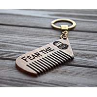 Beard Comb Keychain Key ring wood Brush comb for men Fear the beard Beard Care Mustache Hair Grooming kit Custom engraving text wenge by Enjoy The Wood