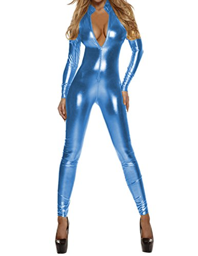 Quesera Women's Sexy Catsuit Long Sleeve One Piece Stretchy Metallic Full Bodysuit, Laker Blue, (Lakers Costume)