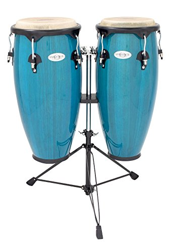 Toca Synergy Wood Conga Set w/ Double Stand - Bahama Blue Toca Wood