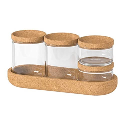 IKEA.. 403.918.79 Saxborga Jar with Lid and Tray, Set of 5, Glass Cork
