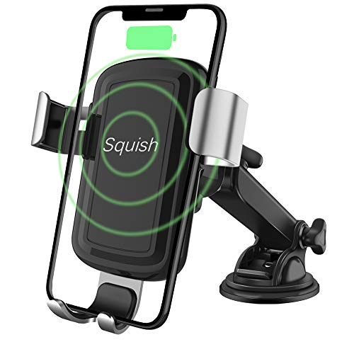Squish Wireless Charger Car Phone Mount Dashboard Windshield Phone Holder for iPhone Xs Max/XS/XR/X/8Plus/8 and for Samsung S9/S9+/S8/S8+/Note9/Note8 & Other Smartphone (Silver) from Squish