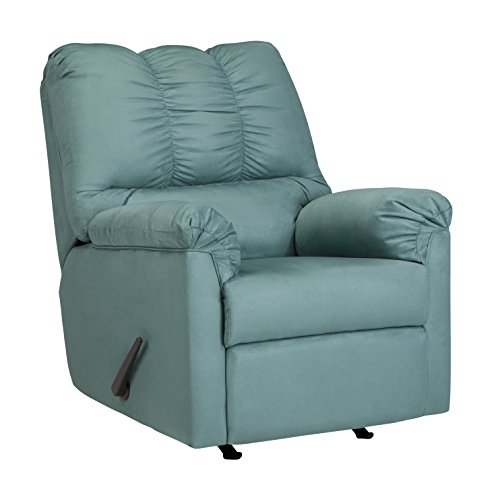 Blue Sky Rocker - Ashley Furniture Signature Design - Darcy Rocker Recliner - Manual Pull Tab Reclining - Contemporary - Sky