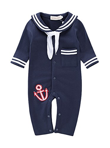 AvaCostume Baby Boys Hooks Embroidery Uniform Rompers with Neckerchief