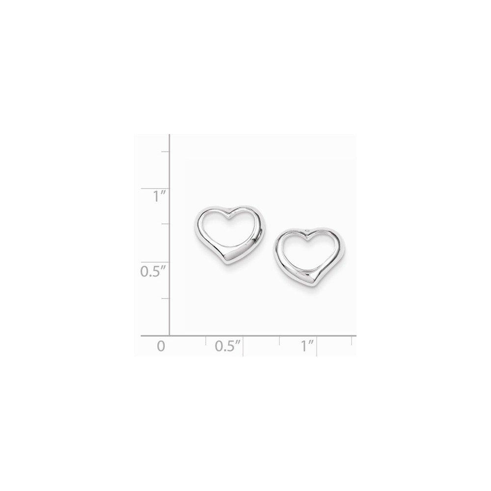 .925 Sterling Silver 10 MM Heart Post Stud Earrings