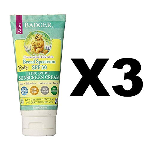 Badger Baby Sunscreen Cream SPF 30, 2.9 oz, 3 Pack from Badger