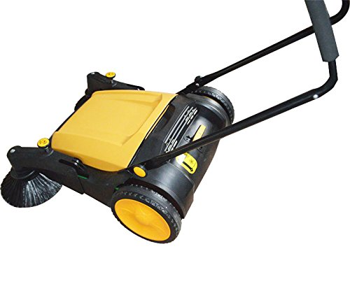 TECHTONGDA 39.5'' Width Triple Brush Walk-Behind Sweeper Push Power Sweeper Pavement Sweeper Portable Cleaner Hard Rubber by TECHTONGDA (Image #2)