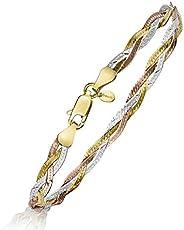 Amberta Women's 925 Sterling Silver Braided Herringbone Chain Bracelet (Length 7.5 i