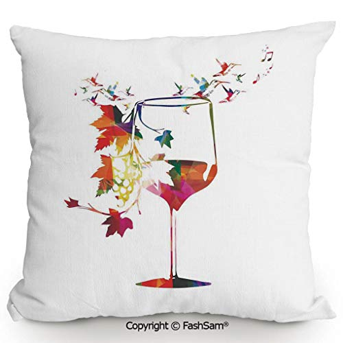 FashSam Polyester Throw Pillow Cushion Vine Glass with Colorful Imaginary Growing Leaves Vines Aroma Sommelier Relax Joy Artsy Work for Sofa Bedroom Car Decorate(18