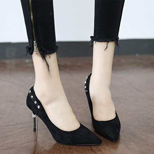 de imitación tacón Superficial de Diamantes señoras Las YMFIE de Puntiagudos Temperamento de único Moda Alto de con yellow Remache Zapatos Elegante Gamuza XCcgwqa