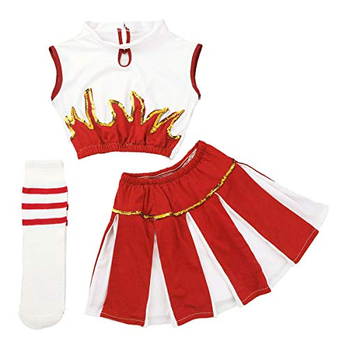 Agoky Youth Girls Cheer Leader Costume School Uniform Outfit Carnival Party Halloween Cosplay Top with Pleated Skirt Socks White&Red 7-8]()