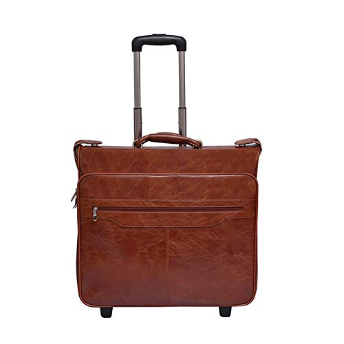 LDHY 20''PU Leather Business Men's Suit Bag, Trolley Bag, Business Trip/Travel/Outdoor Portable Handbag, Luggage Suitcases Travel Bags, 5KG (52CM, 55L)-brown-20inch-524817CM