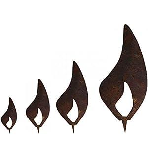 Metallmichl Edelrost 4er Pack Flamme Aus Metall 10 Cm
