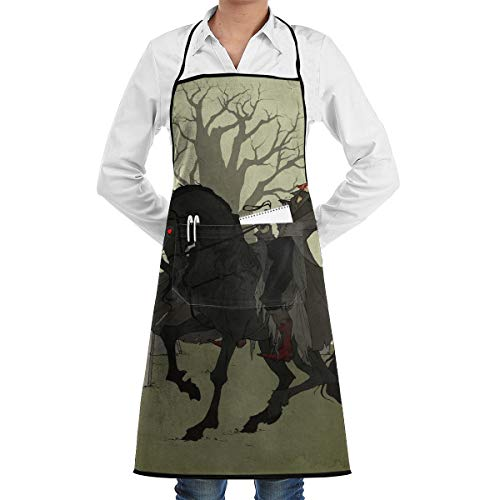 Halloween Headless Horseman Art Print Utility Activity Toolbelt Work Best Prime Supply Customize Smocks Adjustable No-tie Full Cooking Apron with Pockets for Kids Teacher ()