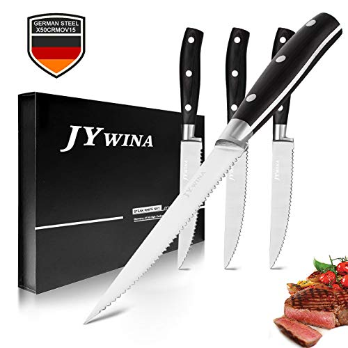 Steak Knives, Steak Knives Knife Precise Laser Cut High Carbon German Stainless Steel Kitchen 4 Premium Kitchen Table Knife 5 Inch Straight Edge Blade Dinner Knives Set