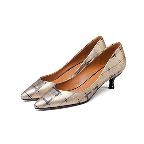 5cm traliccio acuminata 34 scarpe Sandali Unico scarpe tacco Da scarpe Donna Wild Fine a testa Moda AJUNR Fashion tacco 34 Alla medio albicocca anwFgZzzx