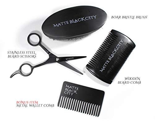 Matte Black City Beard Grooming Luxury Gift Set   Professional Trimming Kit for Men   Includes Boar Bristle Brush, Wooden Beard Comb & Stainless-Steel Scissors   Bonus Metal Wallet Comb for Travel